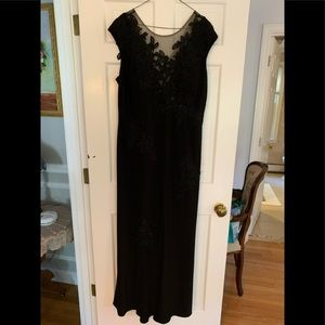 Xscape black sequent evening gown 16W. Worn once
